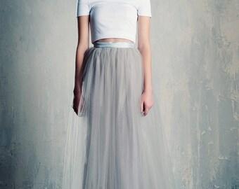 Silver Tulle Maxi Skirt Grey/Gray A Line Floor Length Bridesmaids Bridal Winter Wedding
