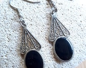 RESERVED for CHRISTINA Sale... Striking Onyx Silver Antique Israel Drop Earrings. Onyx Earrings. Etsy Gift