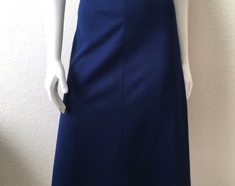 Vintage Women's 70's A line Skirt, Navy Blue, Polyester, Knee Length (L)