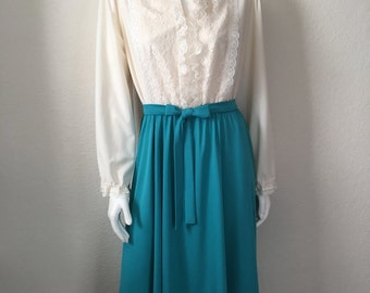 Vintage Women's 70's Dress, Cream, Turquoise, Polyester, Long Sleeve, Lace (L/XL)