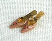 Vintage Lapel Hat Pin Brooch Pink Green Enamel Shoes 80s Costume Jewelry