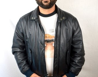 Vintage 80s Brown Leather Members Only Bomber Jacket