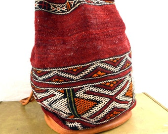 Distressed Vintage Kilim Ethnic Woven Backpack