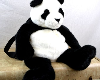 Cute Vintage Panda Bear Plush Stuffed Animal 90s Backpack