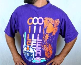Vintage 90s Oilers NHL Ice Hockey Purple Tee Tshirt