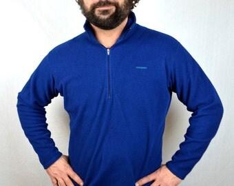 Vintage 1990s Patagonia Blue Fleece Pullover Jacket Coat - Capilene