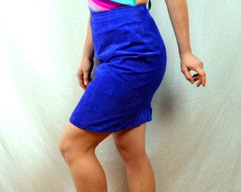 Vintage Purple Suede 80s 90s Rocker Skirt - Chia