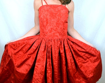 Vintage 1950s Amazing Red Party Dress - Palm Tree Print