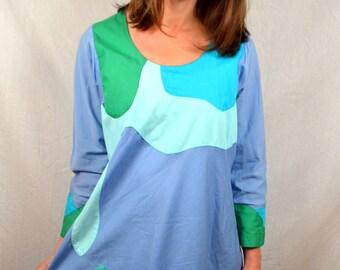 Vintage Vercellino Designs Art Designer Rainbow Geometric Cotton Mumu Free Size Hippie Dress