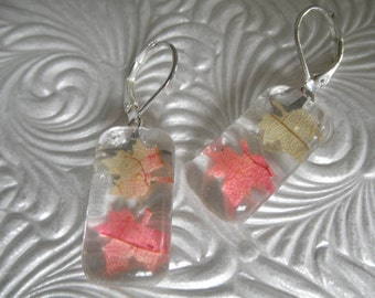 Falling Autumn Leaves-Tiny Ombre Autumn Maple Leaves Glass Domed Rectangle Leverback Earrings-Gifts Undder 25-Rustic,Earthy-Nature's Art