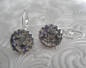 Purple Passion-Queen Anne's Lace Atop Purple-Crown Leverback Pressed Flower Earrings-Symbolizes Peace-Gifts Under 30