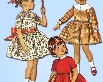 1960s Vintage Simplicity Sewing Pattern 5137 Versatile Toddler Girls Dress Sz 3