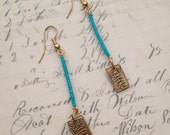Turquoise Modern Bar Earrings // Turquiuse and Gold Dainty, Delicate, Modern with Antique Style Charm