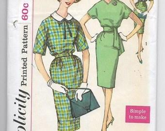 Uncut, Misses Size 14, Vintage 1950s Sewing Pattern, Woman Dress, Sheath, Wiggle, Slim, Detachable Peter Pan Collar, Simplicity 3557, Sash