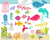 ON SALE under the sea clipart ,.- fish clipart, sea shell clipart, sea animal clipart, cute Sea Creatures clipart