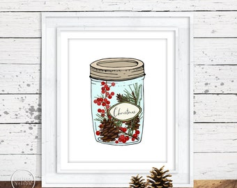 Christmas in a Jar Sketched Wall Art - 8x10 Printable