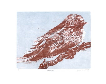 "Woodcut, ""Swallow"" (White) - Original Woodcut Relief Hand-printed on Sumi-e, Limited Edition of 5 ONLY"