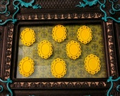 8 Filigree Bezel Pendant Settings, Yellow, Copper Plated 24x32mm, Holds a 13x18mm Cabochon, Lead and Nickel Free
