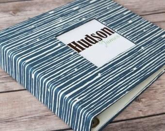 Baby Book, Baby Gift, Baby Album, Baby Memory Book, Baby Keepsake, Modern Baby Book, Navy Lines