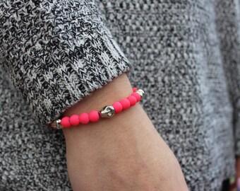 Neon Pink Skull Beaded Bracelet.