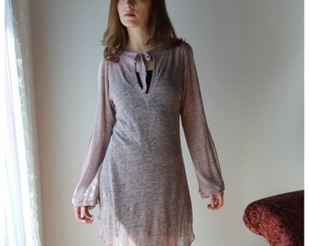 sheer linen tunic with vented bishop sleeves and deep V neck in metallic sparkle jersey - MICA lounge wear range - made to order