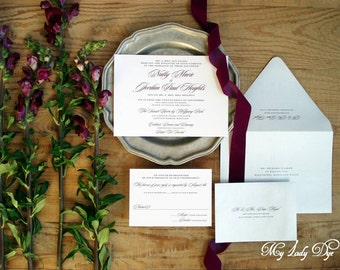 100 Elegant Script Classic Wedding Invitations - Black and White - The Natty Collection - By My Lady Dye