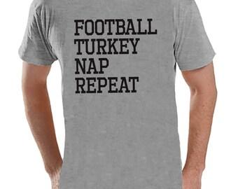 Football, Turkey, Nap, Repeat - Adult Thanksgiving Shirt - Funny Men's Thanksgiving Dinner Shirt - Mens Grey T-shirt - Funny Food Shirt