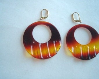 Tortoise Color  Lucite Dangle Vintage Jewelry  Earrings