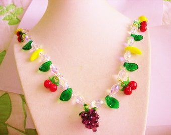 Fruit Salad Cherry Lemon Orange Banana Grape Leaves Czech Crystal Glass  Necklace