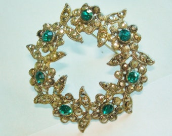 Green Rhinestone Marcasite  Circle Flower Brooch
