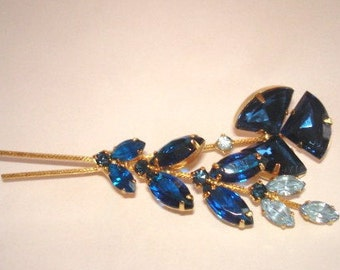 Sapphire Blue  Rhinestones Jewelry Brooch Gold Tone Brooch