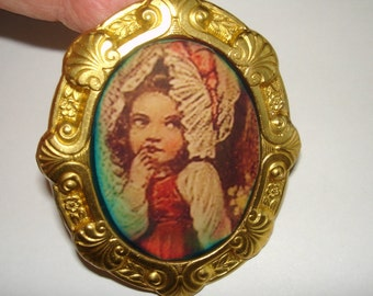 Child with Bonnet  Brooch Gold Tone Repousse Multi Tone