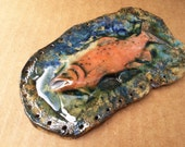 Salmon Swimming Upstream Pottery Basket Start 3D Orange Blue Black Green