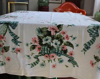 "Tablecloth Printed 49.5"" x 58.5"" Cornucopia Plaid Ribbon Bows Pink Blue Flowers Large VINTAGE by Plantdreaming"