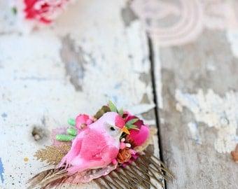 a pink bird floral hair comb. a bird headpiece. wedding hair comb. summer headpiece. a romantic wedding hair comb. bridal head comb.