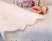 RESERVED - Runner, Linen, Vintage, Long, Shabby French, Shabby Cottage, Centerpiece, Table Linens, by mailordervintage on etsy