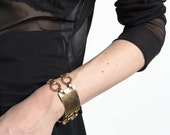 Vintage 80s Gold Oversized Chain Link and ID Bracelet