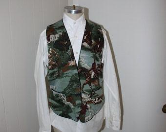 Crazy Horse Vest Size Large Equestrian Print Fox Hunt Horses Hunt Coat Menswear Large