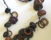 handmade clay rings... an earthy and rustic necklace