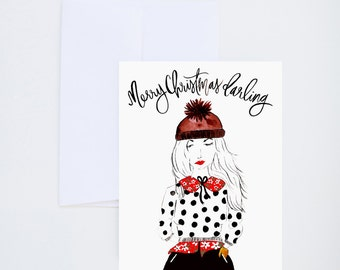 Holiday Greeting Cards - Merry Christmas Darling - Single A-2 Card