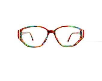 90s Silhouette Eyeglasses Frames Women's Vintage 1990's Multicolor with Gold Detail Frames Model V 6050 Made in Austria #M417 DIVINE