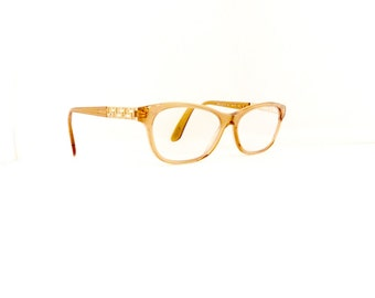 90s Versace Cat Eye Eyeglasses Women's Vintage 1990's Translucent Light Brown w Jewels Detail Italy Comes With Case #M517 DIVINE (EB)