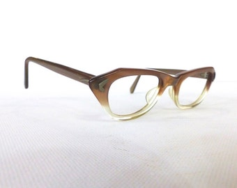Vintage 1950's Cat Eye Glasses Frames // 50's Women's Eyeglasses // Two Tone Taupe and Translucent // #M6