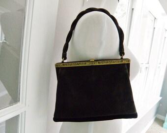 Vintage Brown Black Suede LOEWE Enamel Frame Spanish Handbag Purse Bag