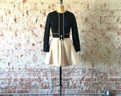 1960s Mod Dress Black Tan Colorblock Skater Mini Dress S