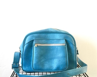 Vintage Blue Weekender Small Suitcase Carryon Bag 1960s Mod