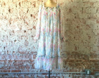 Floral Chiffon Midi Dress Vintage 1970s Boho Accordion Pleat Ruffles Prairie Dress S