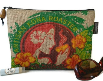 Christmas Gift for Her. Island Girl Burlap Clutch. Repurposed Honolulu Coffee Company Coffee Bag. Handmade in Hawaii.
