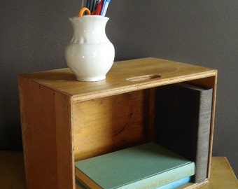 Vintage Wooden Box with Handles - Wooden Case - Vintage Wood Storage Box or Display Shelf