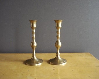Small and Bright  - Vintage Brass Candle Holders - Brass Candlesticks